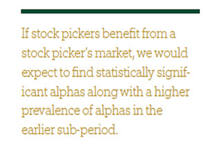Do Stock Pickers Benefit From a Stock Picker's Market? 3