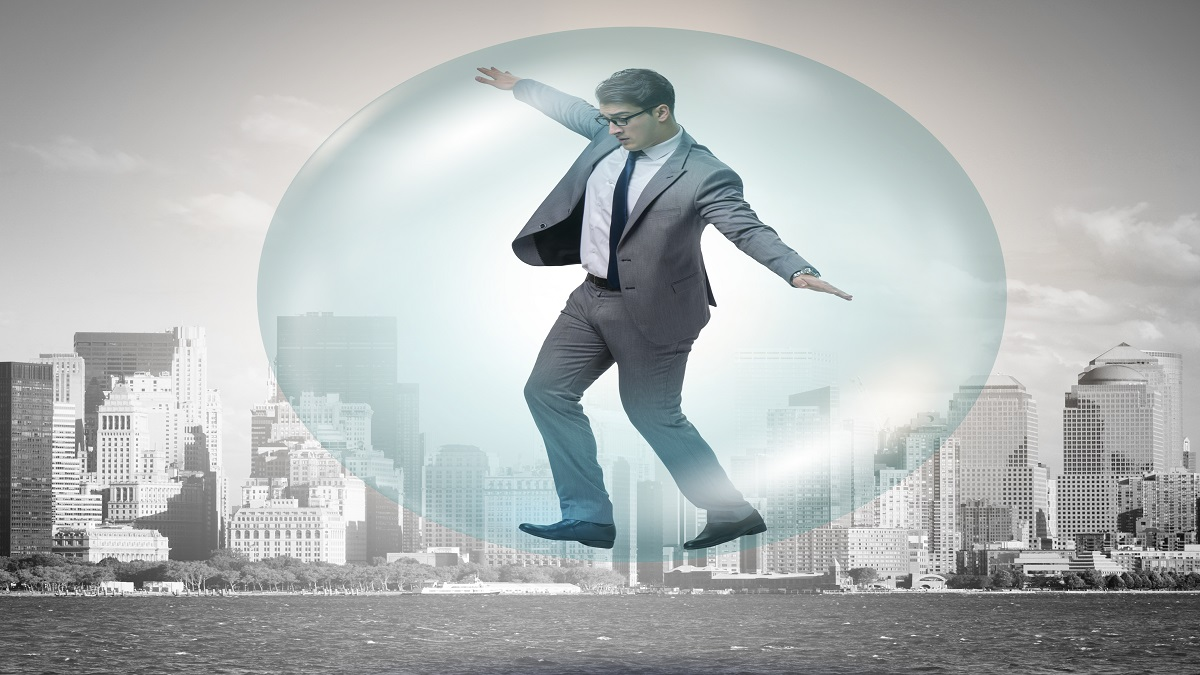 Man standing on urban bubble