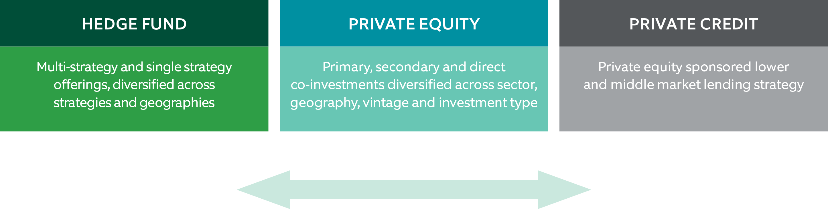 Chart               of investment solutions across the spectrum of hedge funds and private equity investments