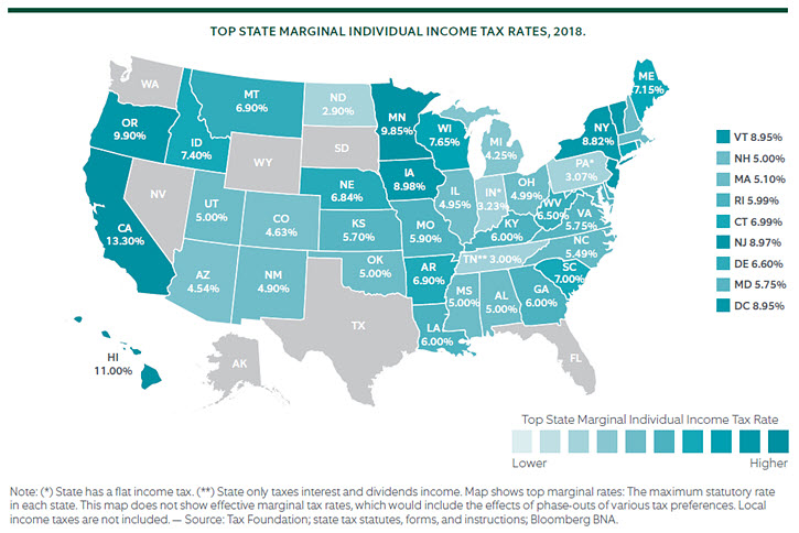 Top State Marginal Individual Income Tax Rates, 2018